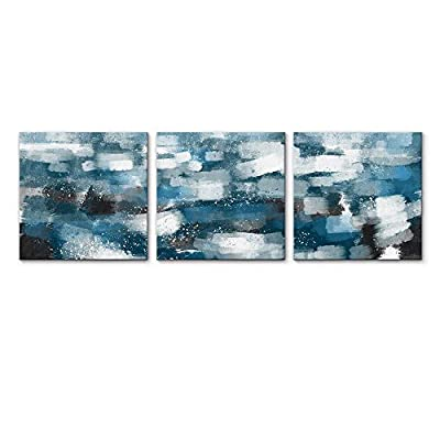 Classic Artwork, Dazzling Work of Art, 3 Panel Teal Blue Abstract Pictures Home Wall for Bedroom Living Room Paintings Framed x3 Panels