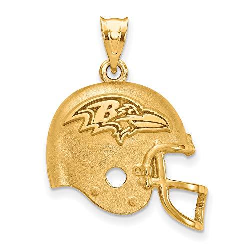 (NFL Sterling Silver Gold-plated LogoArt Baltimore Ravens Helmet Pendant)