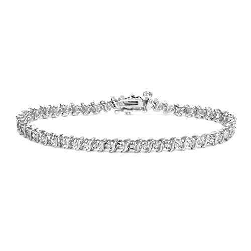 14k White Gold Round-cut S-Link Diamond Tennis Link Bracelet (1/2 cttw)