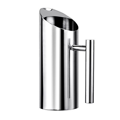 Stainless Steel Water Pitcher with Ice Guard,Straight Pot Frozen/Unboiled Water/Juice/Beer/Coffee Bottles Water Cooler for Bar/Home,1L (Stainless Steel Water Pitcher With Ice Guard)