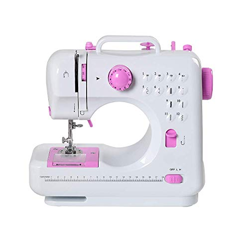 RZChome 12 Stitch Sewing Machine, Portable Household Easy to Use for Beginners Pink Sew 2 Speed with Upgrade
