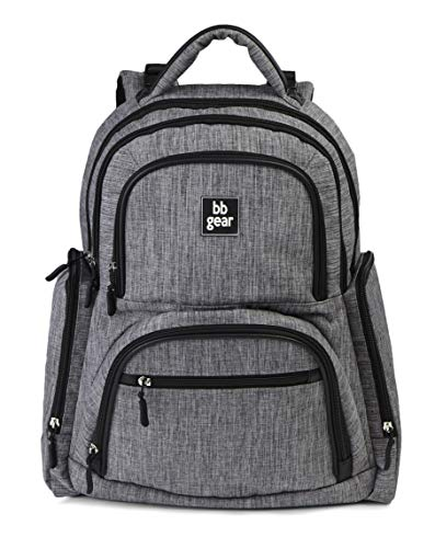 BB Gear Unisex Diaper Bag Backpack for Men and Women - Simple, Lightweight Design With Wipes Holder and 11 Pockets