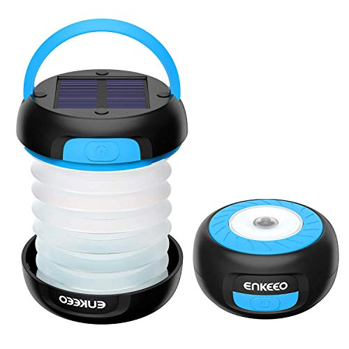 ENKEEO Solar Camping Lantern Collapsible Light LED Flashlight with Rechargeable Battery (via Solar or USB) Portable for Outdoor Hiking Backpacking Tent Emergencies, Blue