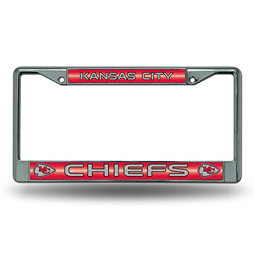 (NFL Kansas City Chiefs Bling Chrome License Plate Frame with Glitter Accent)