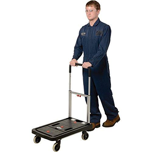 Vestil FF-FPT-1627 Fold Flat Plastic Cart, 26.75'' Length, 16.25'' Width, 36.5'' Height, 300 lb., Black by Vestil (Image #1)