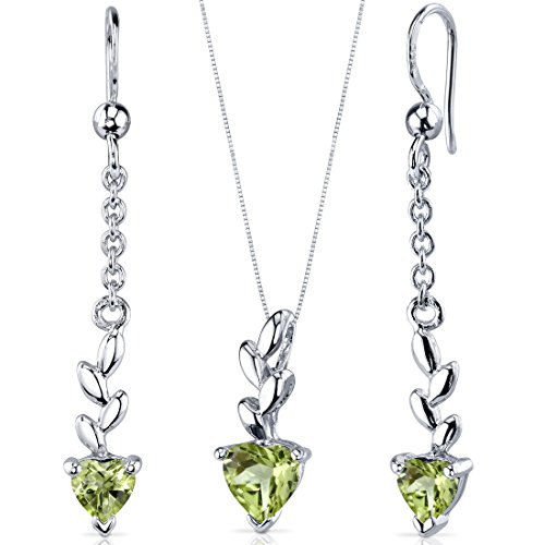 (Dangling 1.75 carats Heart Shape Sterling Silver with Rhodium Nickel Finish Peridot Pendant Earrings Set)
