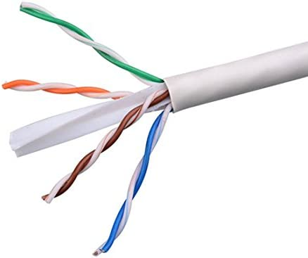 Plenum Cable CAT6 White 500 FT Bulk Cable Roll 550 MHz 4 Twisted Pair 23 AWG Solid Copper Network FastCat UTP CMP Ethernet Certified UL Listed PVC Jacket Category 6 Enhanced CPU Data Transfer Line