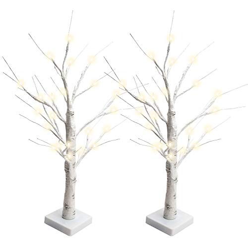 JACKYLED 2FT 28 LED Birch Tree Light Tabletop Tree Light Battery Operated Lighted Tree Jewelry Holder Decor for Indoor Christmas Party Home Wedding (2PCS, Warm White) (Christmas Jewellery Tree)