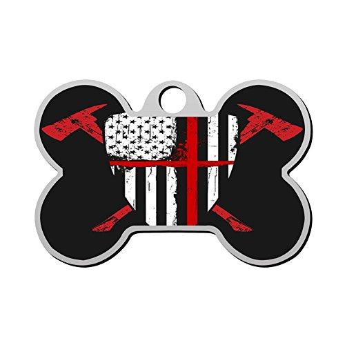 HAOPENGYOU Custom Pet ID Tags Personalized Dog Tags & Cat Tags Bone Shape USA Flag Fireman ()