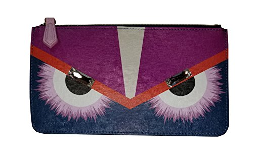 Fendi-Monster-Pouch-Cobalt-Blue-Fur-Crystals-Leather-Italian-Bag