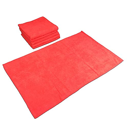 SmartChoice Microfiber Cleaning Cloths (12-pack)   Lint-Free, Streak Free   Various Sizes and Colors Avail   Ideal for Kitchen, Home and Car Use (Red, Large: 16 x 27 in.)