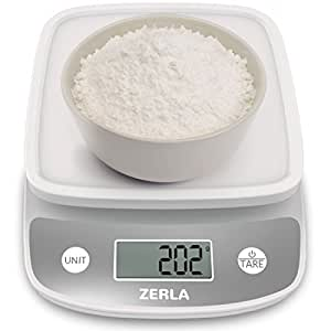 Digital Kitchen Scale by Zerla — Versatile Food Scale — Weigh Snacks, Liquids, & Foods — Accurate Weight Scale within .05 oz. — Great for Adkins Diet, Weight Loss Programs & Portion Control