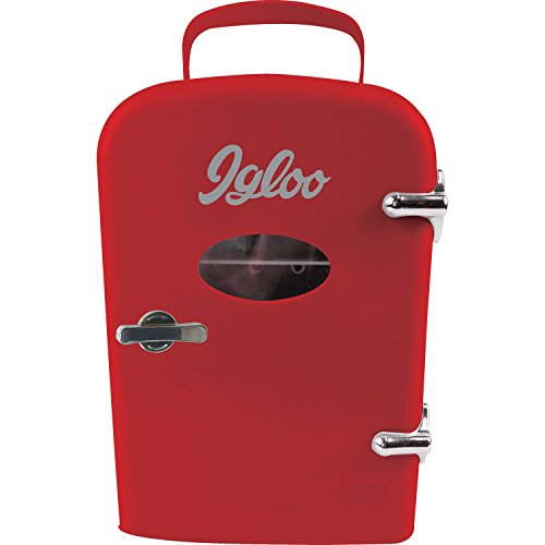 Igloo Mini Beverage Refrigerator - Retro 6 Can Mini Fridge Red - 4 Liter Capacity