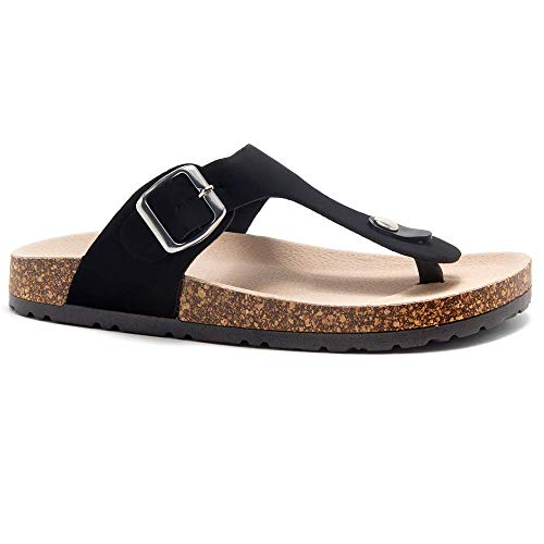 - Herstyle Abella Women's Comfort Buckled Slip on Sandal Casual Cork Platform Sandal Flat Open Toe Slide Shoe Black 9.0
