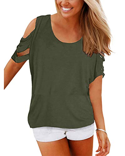 YOINS Summer Top for Women Cold Shoulder Short Sleeve Blouse Loose Casual Cut Out T-Shirt Green L