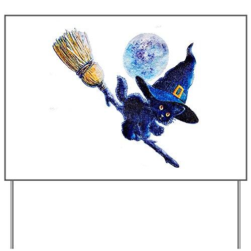 Yard Sign Halloween Kitten Witch Broom Moon]()