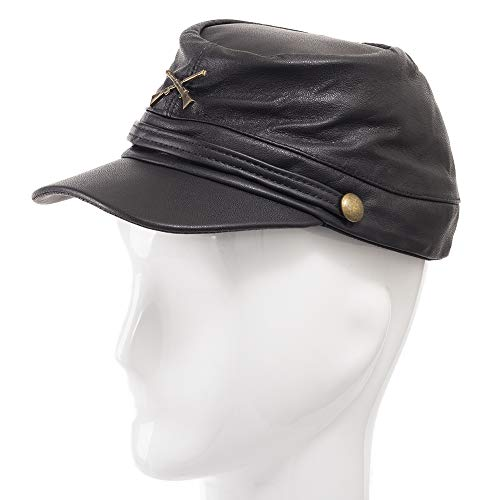 Genuine Leather Civil War Kepi Cap Army Military Soldier Cadet - Import It  All f44a1cd9574d