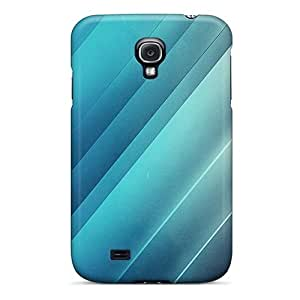 Durable Defender Case For Galaxy S4 Tpu Cover(shining Blue Lines)