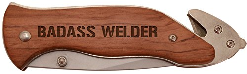 Personalized Gifts for Welder Badass Welder Laser Engraved Stainless Steel Folding Survival Knife