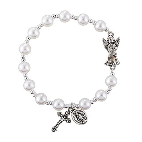 (Guardian Angel White Bead Charm Rosary Bracelet, 7 1/2 Inch)