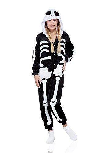 Adult Skeleton Onesie Pajamas Kigurumi Cosplay Costume One Piece Onsie Fleece Pjs (L, Black, White)