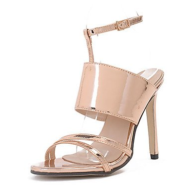pwne Las Mujeres Sandalias De Charol Zapatos Club Vestido De Verano Hebilla Stiletto Talón Plata Oro 4A-4 3/4De Oro Us6 / Ue36 / Uk4 / Cn36 US5.5 / EU36 / UK3.5 / CN35