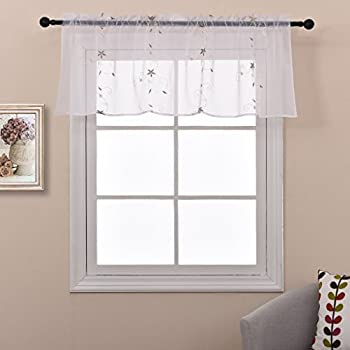 nicetown spring blooms voile floral embroidered sheer window treatment valance curtain one panel