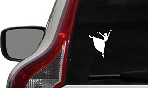 Ballerina Dancer Silhouette Version 3 Car Vinyl Sticker Decal Bumper Sticker for Auto Cars Trucks Windshield Custom Walls Windows Ipad Macbook Laptop and More (WHITE)]()