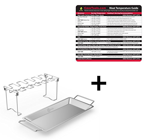 Temperature Magnet (lg) + Chicken Wing & Leg Rack For Grill Smoker or Oven - Stainless Steel Vertical Roaster & Drip Pan For Cooking Vegetables In BBQ Juices - Dishwasher Safe Barbecue (Chicken Egg Bag)