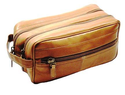 - Dorado Vaqueta Leather Double Zip Shave Kit (Tan)