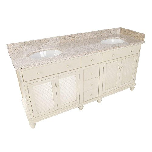 (Pegasus CTAAT7222D Cottage 72 in. Vanity Antique White with Granite Vanity Top Mohave Beige and 2 Undermount Sinks White )