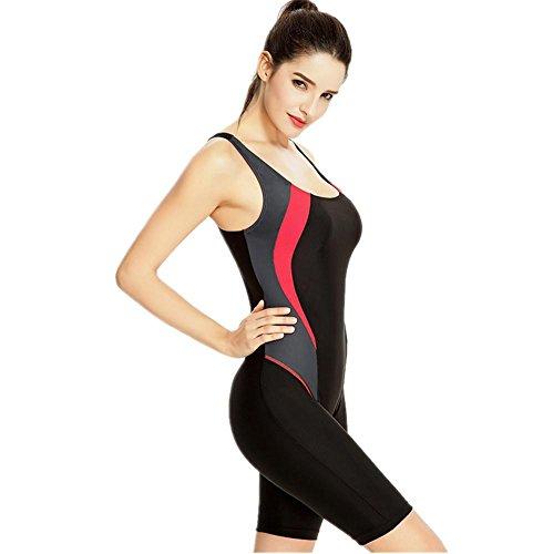 MIAO Mujeres traje de baño plana ángulo cortocircuitos movimiento Profesión Deportes una pieza de gran tamaño Beach Swimwear Black