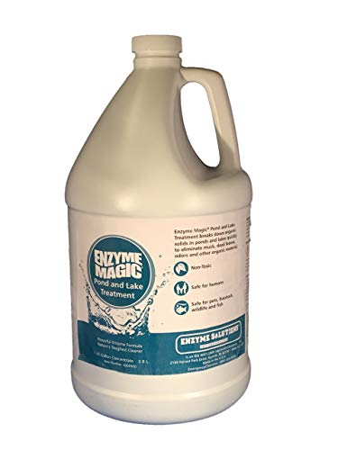 ENZYME MAGIC Pond and Lake Treatment (1 Gal Concentrate) Enzyme Based Solution Eliminates ODOR at source, breaks down/rids Muck, Dead Vegetation which is Food Source to Algae; Cleans 1 Acre Foot Water ()