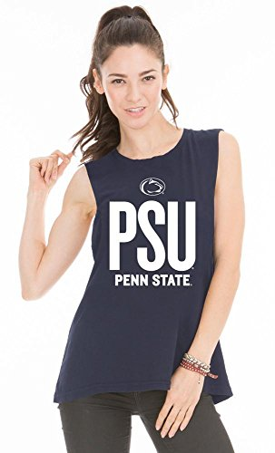 Official NCAA The Pennsylvania State University Penn State Nittany Lions PSU Women's Boyfriend-Fit Sleeveless Soft O-Neck Premium Muscle Tee -