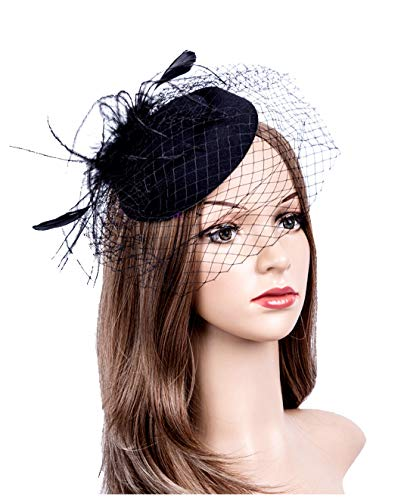 Fascinators Hats 20s 50s Hat Pillbox Hat Cocktail Tea Party Headwear with Veil for Girls and Women (1-B1-Black) (20s Womens Hats)