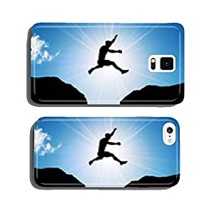 Man jumping over precipice between two rocky mountains cell phone cover case iPhone5