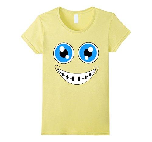 Womens Halloween Costume Emoji TShirt Braces Nerd Blue Eyes Large (Halloween Costume Braces)
