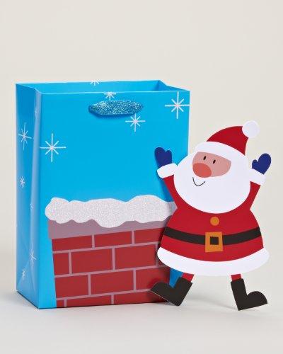 American Greetings Christmas Holiday Medium Gift Bag, Santa