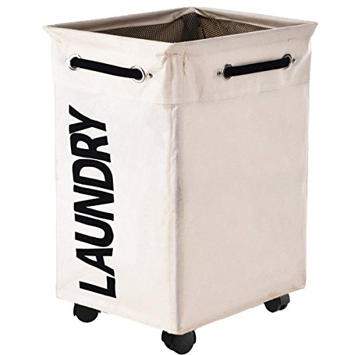 Haundry Collapsible Laundry Hamper with Wheels, Rolling Large Clothes Hamper Basket Stand with Storage Bin
