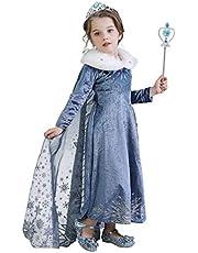 Disfraz de Princesa para Niñas de la Reina Elsa,Azul Nieve Reina Disfraz Cosplay Fantasía Fiesta Vestido de Boda con Forro Garniture Cap