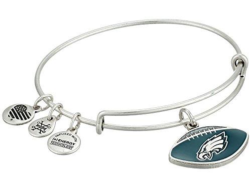 (Alex and Ani Women's Color Infusion Philadelphia Eagles Football II EWB Bracelet, Rafaelian Silver, Expandable)