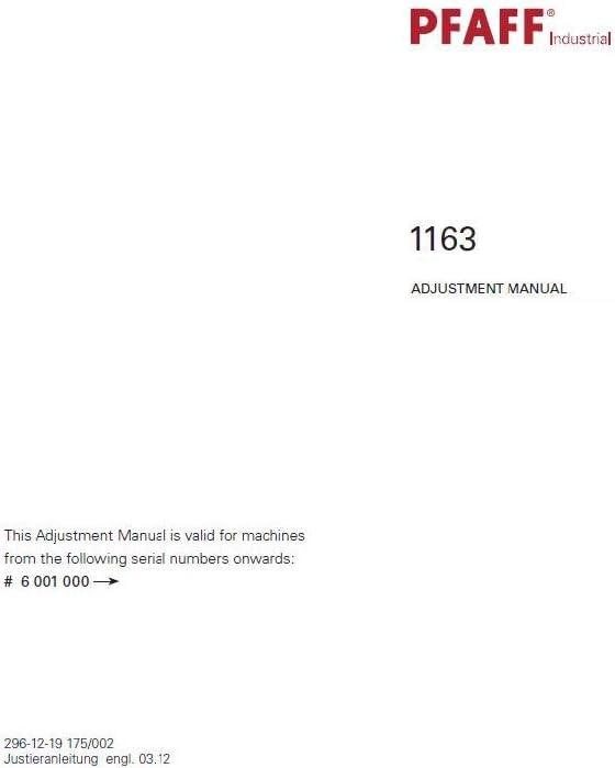 Descargar Pdf-File Pfaff 1163 Máquina de coser manual de ajuste ...