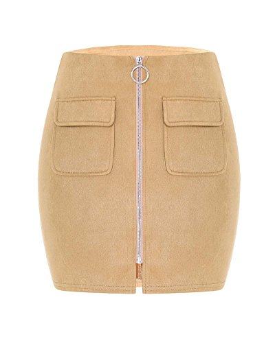 Gamery Women's Sexy Faux Suede A Line Short Mini Skirts With Pockets Camel Medium