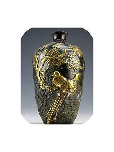 GO-SAMSARA Chinese Vintage Collection Bronze Statues Gold-Plating Flower Bird Vase 20Cm