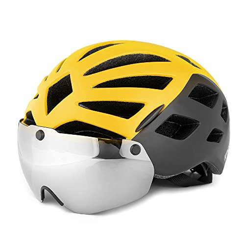 KINGBIKE Bike Helmet Bicycle Helmets Cycling for Adults Men Women Youth Detachable Magnetic Visor Shield Goggles UV4000 Protection LED Rear Light MTB Road Commute Street Specialized