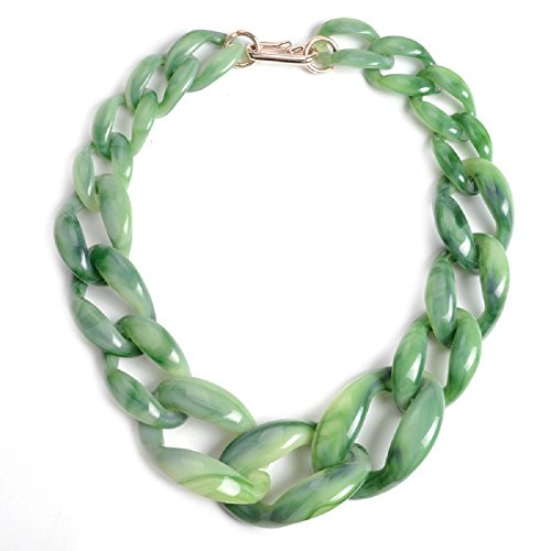 ashion Acrylic Twist Collar Chunky Choker Statement Chain Necklace Light Green (Light Green Necklace)