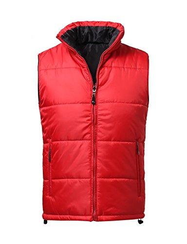 JD Apparel Men's Sleeveless Goose Down Puffer Vest Parka Jacket Medium Red (Reversible Puffer Vest)