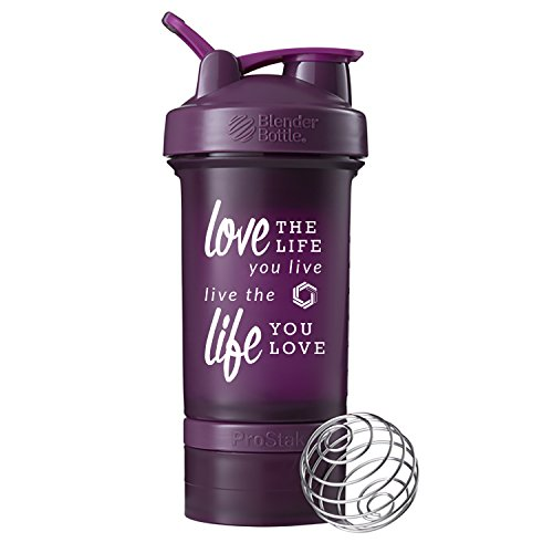 Love Life Prostak Blender Bottle, 22oz Protein Shaker cup with Twist N' Lock Storage (Plum)