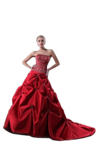 Miranda Women's Strapless Empire Satin Bridal Wedding Dress Size 4 Red - Empire Strapless Satin