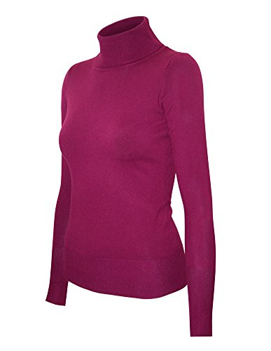 (Cielo Women's Solid Basic Stretch Turtleneck Pullover Knit Sweater Magenta S)